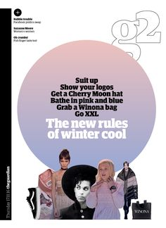 Guardian g2 cover: New rules of winter cool. #editorialdesign #newspaperdesign #graphicdesign #design #theguardian