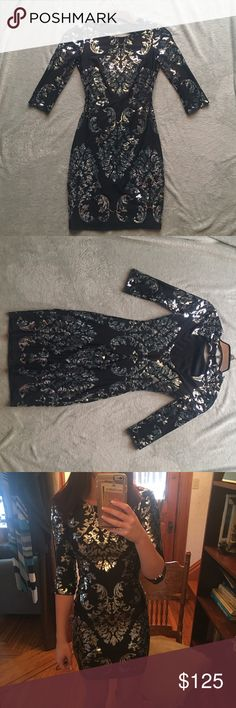 Black and Silver Dillard's dress Mid-sleeve, fitted dress. Black with silver sequins. Worn once. Dresses Prom