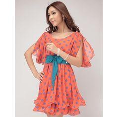 Women Blue Chiffon Dots Hot Sale Korean Fashion Bow Spring Dress... ($22) ❤ liked on Polyvore