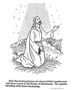 Easter Bible Coloring - Jesus prays at Gethsemane, Sunday School and VBS activity sheets Easter Coloring Pictures, Easter Coloring Sheets, Easter Bunny Colouring, Bunny Coloring Pages, Bible Coloring Pages, Easter Pictures, Coloring Books, Easter Story Bible, Sunday School Coloring Pages