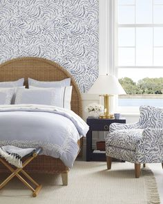Priano Wallpaper - Serena & Lily Bedroom Bed, Bedroom Decor, Bedroom Ideas, Serena And Lily Wallpaper, Coastal Bedrooms, Small Bedrooms, Master Bedrooms, Headboard And Footboard, Bed Furniture
