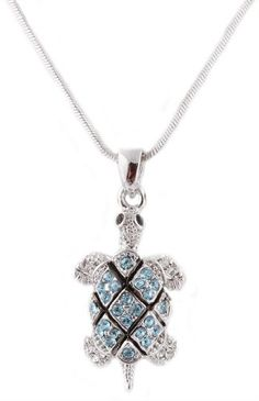 Silvertone with Light Blue Iced Out Turtle Pendant with an 18 Inch Snake Franco Chain Necklace JOTW