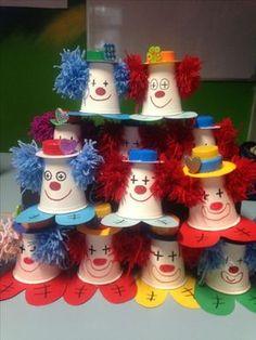Diy Crafts - basteln,karneval-Clown cups for the letter C Kids Crafts, Clown Crafts, Circus Crafts, Carnival Crafts, Preschool Activities, Diy And Crafts, Arts And Crafts, Paper Cup Crafts, Plate Crafts