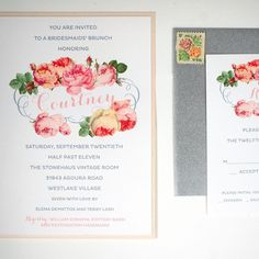 Bridesmaid's Brunch Rose Invitation honey-paper.com