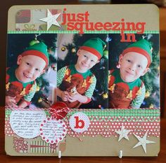 Such a cute Christmas layout. #scrapbooking #layout #Christmas