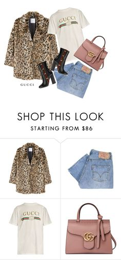 """""""Faux fur"""" by leaaaaxx ❤ liked on Polyvore featuring MANGO, Levi's, Gucci, Pink, gucci, Levis and fauxfur"""