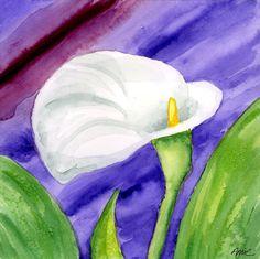 White Calla Lily Purple Mood Painting  - White Calla Lily Purple Mood Fine Art Print