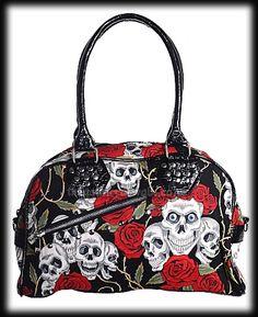 Skulls   Roses Gothic Bag White Shoulder Bags, Shoulder Strap, Red Purses,  Purses 628a68b66ac