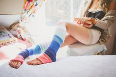 Ombre Color Block Sweater Knit Leg Warmers in Coral, Mint, and Blues - Beachy Keen Leg Warmers. $34.99, via Etsy.