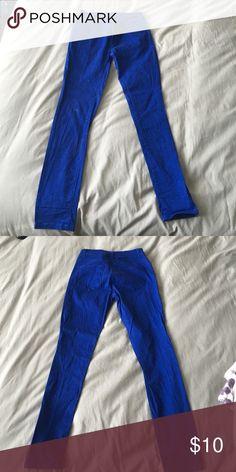 Bright blue jeans Cute bold blue skinny jean Pants Skinny