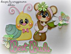 ELITE4U SCRAPPINWMN PREMADE SCRAPBOOK PAGE ALBUM BORDER BEAR PAPER PIECING GIRL