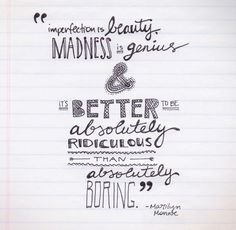 Fabulous quote from Marilyn Monroe as doodled and designed Alyssa Yuhas.