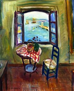 Studio Window open over the Port of Saint Tropez Charles Camoin - circa 1958
