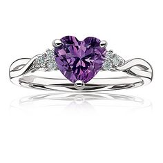 $147 - Amethyst Heart & Diamond Ring in Sterling Silver