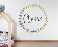 Custom Name Wreath Vinyl Wall Decal, Personalized Kids Name Nursery Decal, Wreath Name Vinyl Wall Decal, Personalized Nursery Childrens Wall Decals, Nursery Decals, Vinyl Wall Decals, Custom Wall, Kid Names, Textured Walls, Pattern Paper, Kids Room, Menu