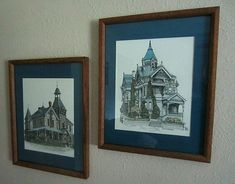 Debbie Patrick Artist, Lot of 2 Hand Signed/Dated Art Prints Hand Signed and Dated Haas Lilienthal House, San Fransisco, Ca. Hand Signed and Dated Haas Lilienthal House & Spring Mountain Vineyards. Vintage Art Prints, Vintage Frames, Framed Art Prints, Scenery Pictures, Art Deco Illustration, Wall Decor Pictures, Animal Posters, Victorian Houses