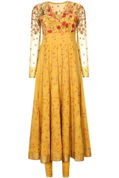 Mustard floral thread and sequins embroidered kalidaar kurta set available only at Pernia's Pop Up Shop..#perniaspopupshop #shopnow #newcollection #ethnic #anjumodi #happyshopping #clothing