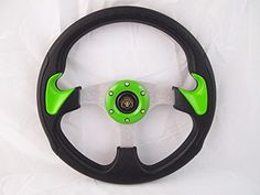New World Motoring CLUB CAR PRECEDENT Green steering wheel golf cart With Adapter 3 spoke. For product info go to:  https://www.caraccessoriesonlinemarket.com/new-world-motoring-club-car-precedent-green-steering-wheel-golf-cart-with-adapter-3-spoke-2/