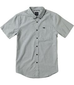 The RVCA That'll Do Oxford Shirt is a slim fit, short sleeve woven shirt with a button down front closure, a patch pocket at the left chest, and buttons...