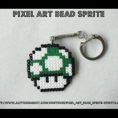 Porte clés 1 up - super mario bros. - bead sprite