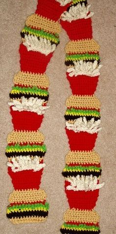 crochet food scarf | DIY Food Art Crochet Pattern 4 Hamburger and Fries by dianelangan