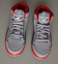New Nike Air Jordan Flt Origin PS Cement Grey White Fire Red Shoes Boys Sz 1 5Y…