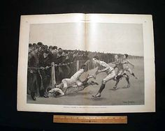 "Harper's Weekly, November 1890 ""Foot-ball - A Collision at the Ropes"" ~ Remington"