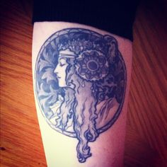 My Alphonse Mucha tattoo. Byzantine Head: The Blonde. 1897 (left forearm) The Brunette is coming to my right forearm in March.