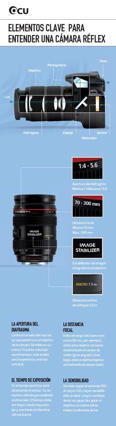Elementos clave para entender una cámara reflex #infografia #infographic                                                                                                                                                     Más