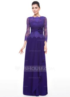 Corte A/Princesa Escote redondo Hasta el suelo Chifón Encaje Vestido de madrina con Flores Cascada de volantes (008058389)