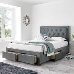 Sophisticated and stylish, the Woodbury Grey Fabric 4 Drawer Storage Bed brings a contemporary style to the bedroom. A perfectly accommodating bed that fits in fantastically in the master bedroom, the Woodbury Grey Fabric 4 Drawer Storage Bed is both v Bed Designs With Storage, Bed Frame With Storage, Bed Storage, Storage Drawers, Bedroom Storage, Fabric Storage, Bedroom Bed Design, Bedroom Furniture Design, Home Organization