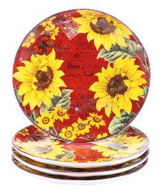Another great find on #zulily! Sunflower Meadow Dessert Plate - Set of Four #zulilyfinds