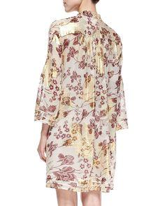 Layla Floral Foil Printed Dress, Raisin/Calico