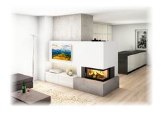 Kachelofen Modern mit Ecksichtfenster und TV Wand Fire, Home Decor, Fire Places, Trendy Tree, Fireplace Tv Wall, In Wall Oven, Tiling, Tile, Attic Apartment