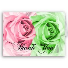 Pink and green roses thank you cards