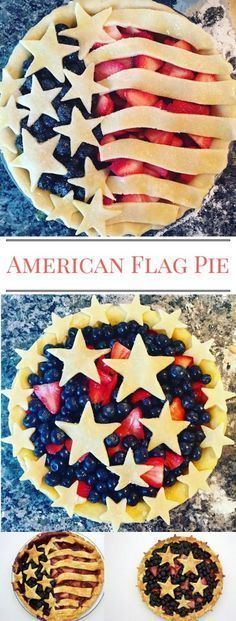 American Flag Pie & Star-Spangled Pies for Independence Day! Holiday Desserts, Just Desserts, Holiday Recipes, Delicious Desserts, Dessert Recipes, Yummy Food, Patriotic Desserts, Patriotic Party, Patriotic Crafts