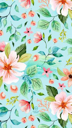 Leaves Wallpaper Iphone, Flower Phone Wallpaper, Locked Wallpaper, Cute Wallpaper Backgrounds, Screen Wallpaper, Cute Wallpapers, Colorful Backgrounds, Plant Wallpaper, Watercolor Ocean