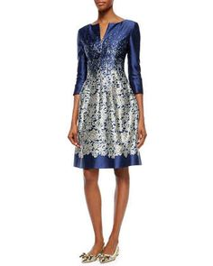 Graduated Floral Brocade Fit-And-Flare Dress by Oscar de la Renta at Neiman Marcus.