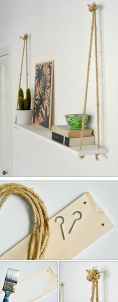 50 Easy DIY Hanging and Floating Wall Shelves on a Budget 50 Stylish DIY Shelves That Win at Decor – how to make hanging rope shelving More from my site How to Make Rope Shelving Set of 2 hanging shelves Diy Hanging Shelves, Floating Wall Shelves, Diy Wall Shelves, Hanging Storage, Easy Shelves, Bedroom Wall Shelves, Making Shelves, Wall Shelving, Bathroom Shelves