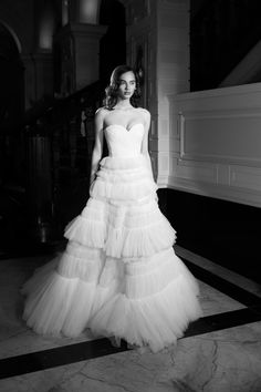 Victor And Rolf, A Line Bridal Gowns, Tulle Gown, Lace Flowers, Bridal Collection, A Line Skirts, One Shoulder Wedding Dress, Glamour, Elegant