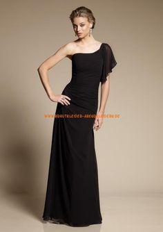 Billiges Abendkleid schwarz bodenlang A-Linie Chiffon