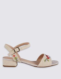 Wide Fit Block Heel Embroidered Sandals