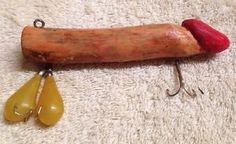 "Vintage Rare Wooden Fishing Lure Penis Nuts Hand Carved 5"" Gag Gift Collectable"