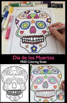FREE Día de los Muertos / Day of the Dead sugar skull coloring sheet.