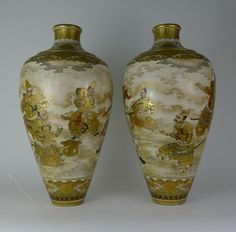 Antiques Atlas - Large Pair 19th C Japanese Satsuma Vases
