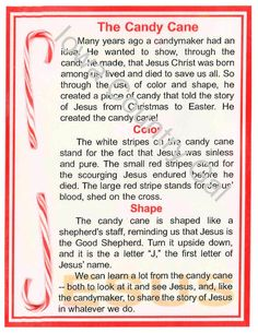 """NEW CANDY CANE STORY LAMINATED SIGN  11"""" X 8.5"""""""