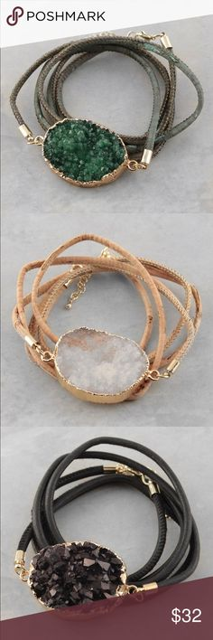 Druzy stone wrap bracelet Price is for 1 bracelet.           Druzy stone Wrap around design Lobster Clasp Closure. This bracelet will be marked down to $23 this weekend so lemme know if u want it Jewelry Bracelets