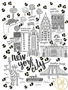 New York Map Print (Leopard Print Edition) by Evelyn Henson Map Of New York, New York Art, New York Illustration, Pattern Illustration, Nyc, Design Thinking, Mural Cafe, Evelyn Henson, Stickers