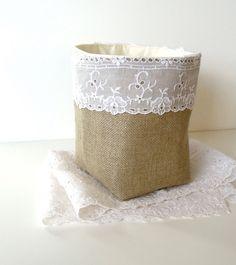 Burlap Basket Vintage Eyelet Lace Fabric - Rustic Linen Burlap Bin - Fabric Bucket - Rustic Wedding Decor on Etsy, $23.00