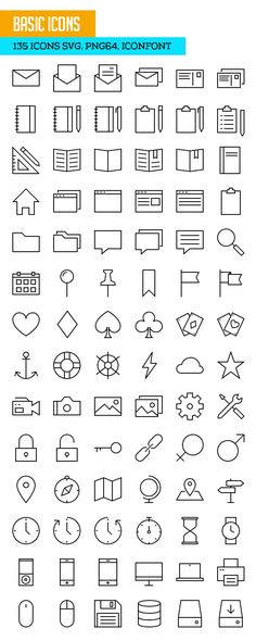 730+ Free Outline Icons Set for Designers